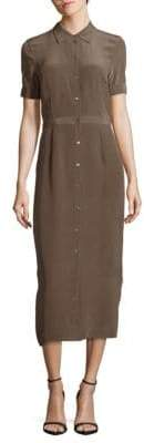 Leo & Sage Point Collar Silk Long Dress
