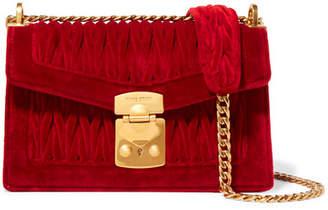 Miu Miu Confidential Matelassé Velvet Shoulder Bag - Red