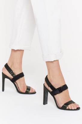 Nasty Gal Satin Sports Buckle 2 Part Heels