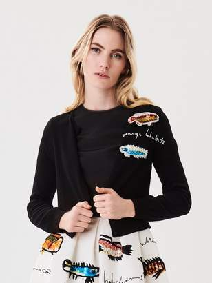 Oscar de la Renta Fish-Embroidered Wool Cardigan