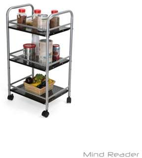 Mind Reader 3 Tier All Purpose Metal Kitchen Cart, Utility Trolley, Home or Office, Silver