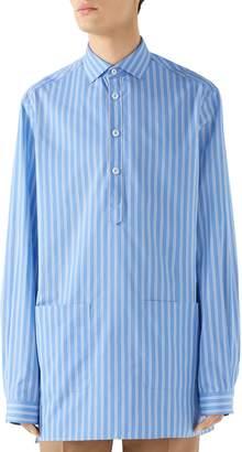 Gucci Oversize Stripe Woven Pullover Shirt