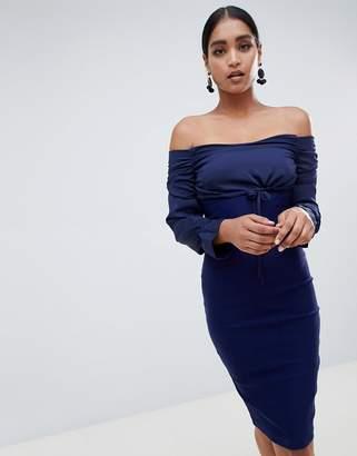 Bardot Vesper long sleeve dress with tie detail