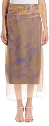 Dries Van Noten Sagax Floral Midi Skirt w/ Organza Overlay