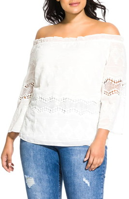 City Chic Lace Darling Off the Shoulder Top