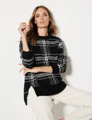 Marks and Spencer Checked Relaxed Round Neck Jumper