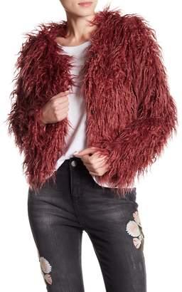 Romeo & Juliet Couture Fluffy Long Faux Fur Coat