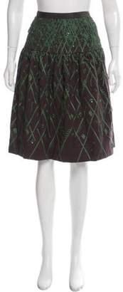 Oscar de la Renta Embroidered Knee-Length Skirt Grey Embroidered Knee-Length Skirt