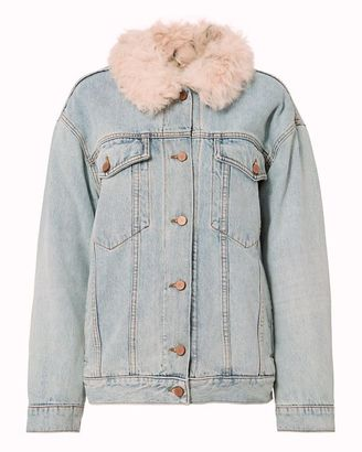 Alexander Wang Shearling Lamb Oversized Denim Jacket $2,250 thestylecure.com