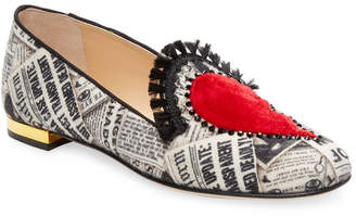 Charlotte Olympia Patch Embroidery Leather Loafer