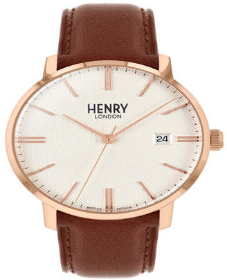 Henry London Unisex Regency Classic Analog White Dial Rose Gold Case Brown Leather Band Watch 40 mm