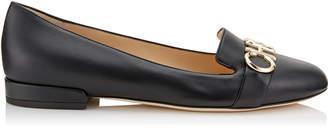 Jimmy Choo JADEN FLAT Black and Gold Nappa Leather Round Toe Ballerinas