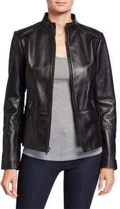 Neiman Marcus Leather Collection Zip-Front Leather Jacket with Braided Arm Detail