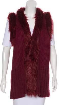 Rachel Zoe Knit Faux Fur Vest