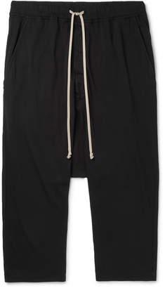 Rick Owens Black Cropped Cotton-Jersey Drawstring Trousers