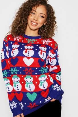boohoo Fairisle Christmas Snowman Jumper