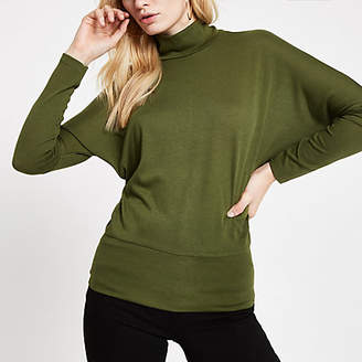 River Island Green high neck batwing sleeve top