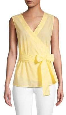 Sleeveless Cotton Wrap Top