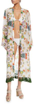 Verandah Printed Long-Sleeve Coverup Kimono with Tassels
