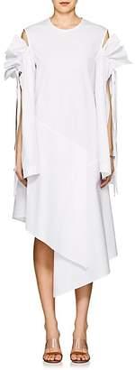 J KOO Women's Cotton Cold-Shoulder Midi-Dress - White