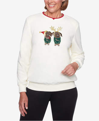 Alfred Dunner Petite Puppy-Applique Sweater
