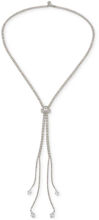 CaroleeCarolee Silver Tone Crystal Lariat Necklace