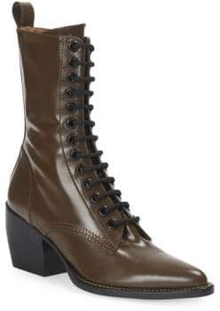 Chloé Rylee Lace-Up Leather Mid-Calf Boots