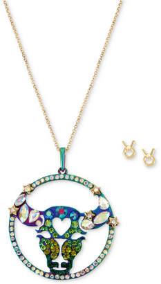 "Betsey Johnson Two-Tone Multi-Stone Taurus Zodiac Pendant Necklace & Stud Earrings Set, 21-1/2"" + 3"" extender"