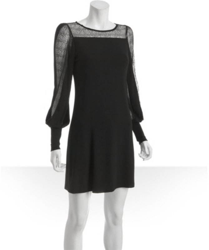 Corey Lynn Calter black jersey 'Gabby' lace insert dress