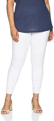 Hue Women's Plus Size Cotton Skimmer Leggings With Eyelet Embroidered Hem