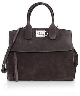 Salvatore Ferragamo Women's Medium Studio Suede Top Handle Bag