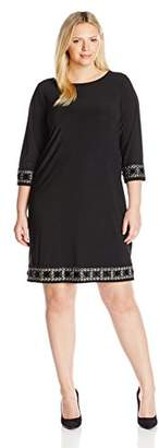 Tiana B Women's Plus-Size Three-Quarter-Sleeve Embellished Cuff and Trim Dress