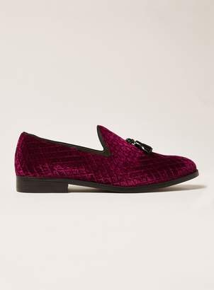 Topman Burgundy Faux Suede Rana Quilted Loafers
