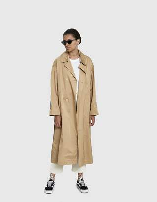 Dima Leu Velvet Stripe Trench Coat in Beige/Light Blue