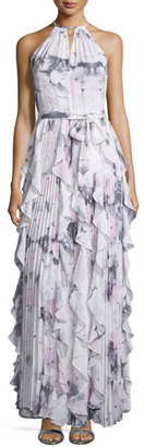 Parker Sleeveless Halter-Neck Ruffle Gown, Lavender Lily $462 thestylecure.com