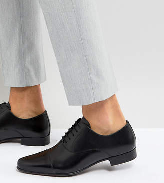 Asos Design Wide Fit Oxford Shoes in Black Leather With Toe Cap