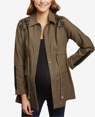 Jessica Simpson Maternity Cotton Twill Embroidered Jacket