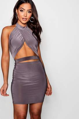 boohoo Cross Front Cut Out Bodycon Dress