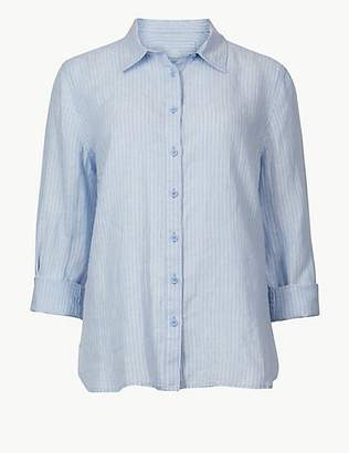 M&S Collection Pure Linen Striped Long Sleeve Shirt