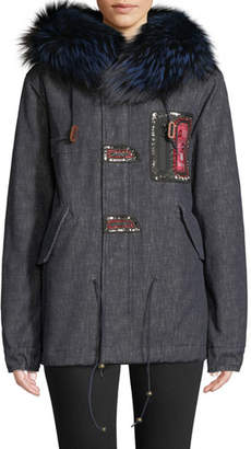 Mr & Mrs Italy Mr&Mrs Italy Fox Fur-Collar Embroidered Denim Parka Jacket