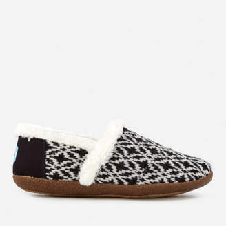 Toms Women's Full Slippers - Black/White Fair Isle