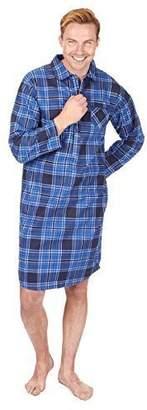 Cargo Bay Mens Check Stripe Print 100% Cotton Thermal Flannel Nightshirt