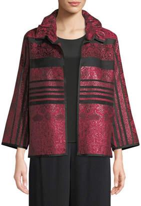 Caroline Rose Sheer Striped Ruched-Collar Jacket, Plus Size