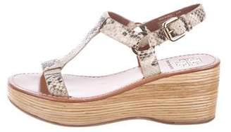 Tory Burch Embossed T-Strap Wedges