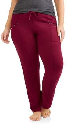Thrill Women's Plus Embellished Relaxed Fit Knit Lounge Pants