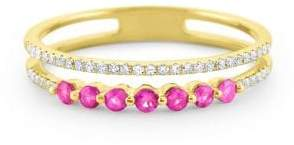 KC Designs Pink Sapphire & Diamond Yellow Gold Ring