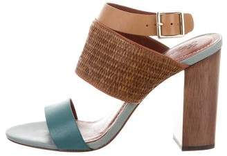 Elizabeth and James Wicker-Paneled Leather Sandals