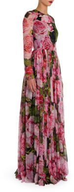 Dolce & Gabbana Floral Print Silk Chiffon Gown $4,995 thestylecure.com