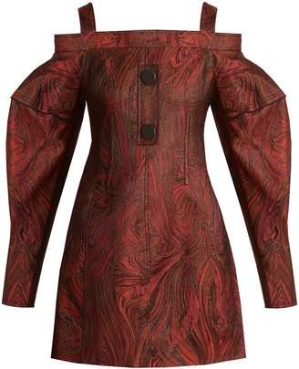 Ellery Bougie off-the-shoulder marble-jacquard dress