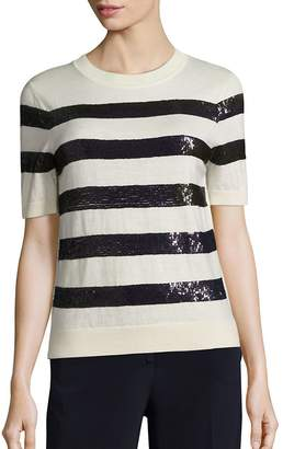 Carolina Herrera Women's Sequin-Striped Wool Knit Top